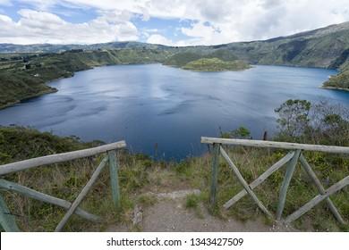 overview to Cuicocha Lagoon in Ecuador