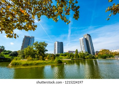 Overview of the Diagonal Mar public park with modern buildings near the 22 aroba zone in the city of Barcelona Catalonia Spain
