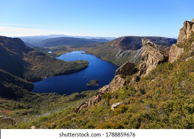 Overview of the Dove Lake in Cradle Mountain - Lake St Clair National Park, Tasmania, Australia.