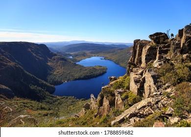 Overview of the Dove Lake, Cradle Mountain - Lake St Clair National Park, Tasmania, Australia.