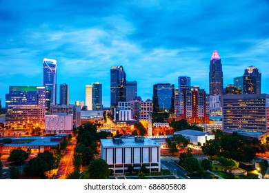 Overview of downtown Charlotte, NC at night