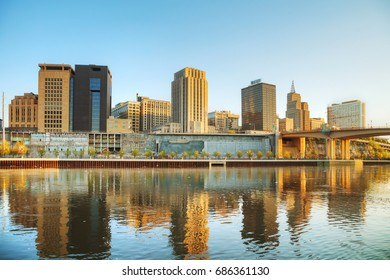 Overview of downtown St. Paul, MN at sunrise