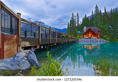 Overview of Emerald Lake after sunset, Yoho National Park, British Columbia, Canada