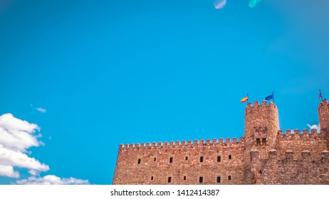 An overview of the exterior of the medieval castle in Siguenza, Guadalajara province in Spain near Madrid. Beautiful, old and medieval castle in Spain