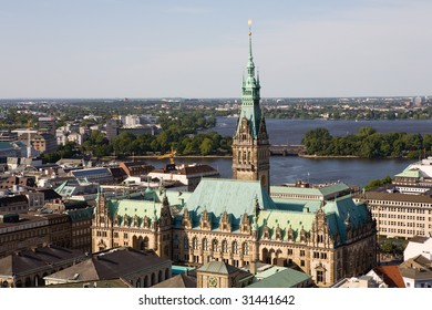 Overview of Hamburg (Germany) with the Rathaus (town hall) in the foreground and the Elbe river in the background