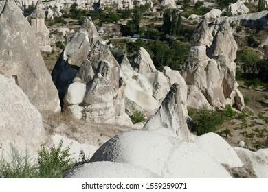 Overview of hoodoos and fairy chimneys of Goreme, Cappadocia, Turkey