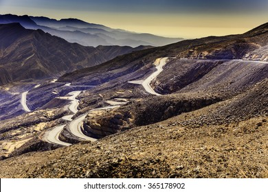 An overview of Jebel Jais mountains with all of the winding roads leading to the summit.