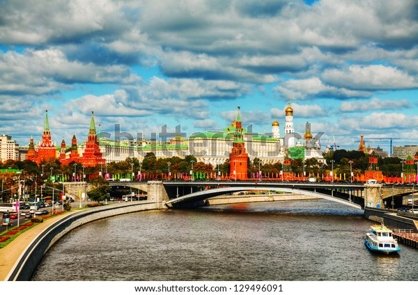 Overview of Kremlin in Moscow on a sunny day