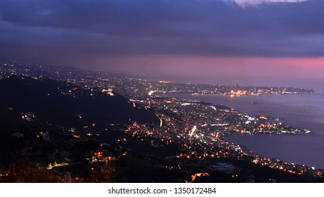 Overview of Lebanese coast by night. Jounieh and Beirut lights in the night