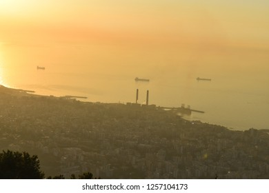 overview of lebanese coast with a thick cloud of athmospheric pollution. Kaslik and Jounieh with the mediterranean sea