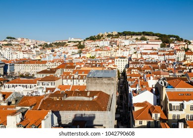 overview of Lisbon with castle, Portugal