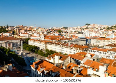 overview of Lisbon with Rossio Square, Portugal