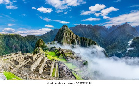 Overview of Machu Picchu, agriculture terraces, Wayna Picchu and surrounding mountains in the background.Machu Picchu, Peru,UNESCO, World Heritage Site. One of the New Seven Wonders of the World,Cusco