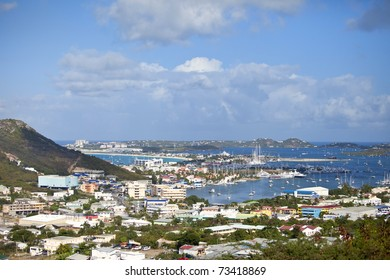 overview of marigot bay, st martin, caribbean