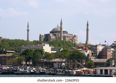 Overview of Mosque in Istambul over blue sky