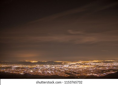 An overview of the night sky of the large city San Bernardino.