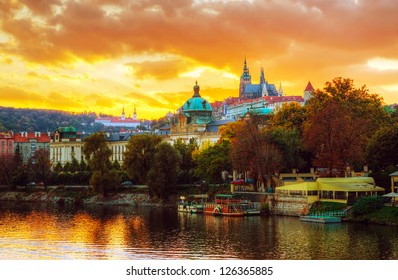Overview of old Prague from Charles bridge side at sunset