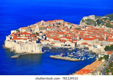 Overview to the old town of Dubrovnik, Croatia