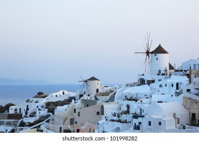 Overview on Oia on the island of Santorini in Greece