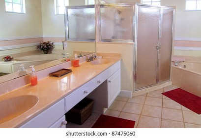 Overview of an outdated bathroom in a private residence
