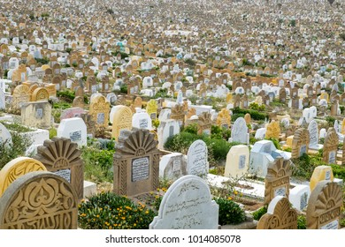 Overview over the crowded muslim cemetery in Rabat, Morocco seen at the 05.05.2016