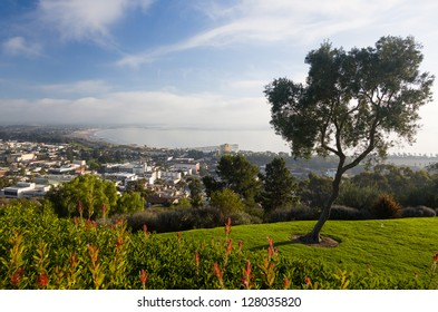 Overview panorama of Ventura California from Grant Park above city showing coastline