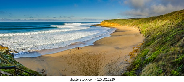 Overview of perfect surf at Bells Beach, Torquay, Great Ocean Road, Victoria, Australia.