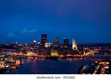 Overview of the Pittsburgh cityscape at dusk
