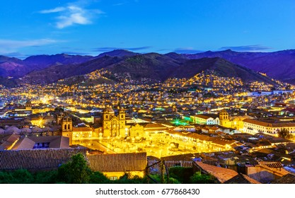 Overview of Plaza de Armas and Church of the Society of Jesus or Iglesia de la Compania de Jesus,Cusco, Peru