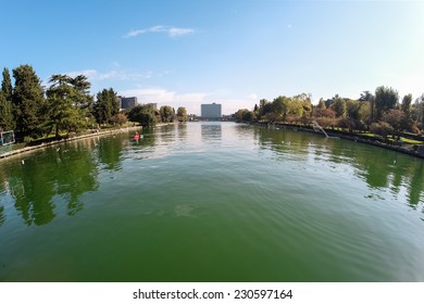 Overview of the pond in the Eur district in Rome by day