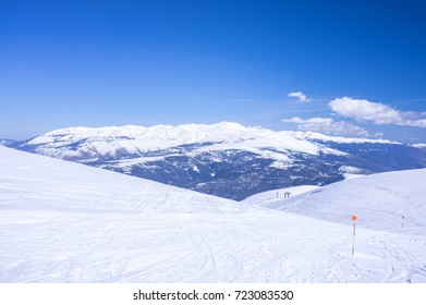 Overview of the Pyrenees mountains from Tosa d'Alp in winter, Alp, Girona, Catalonia, Spain