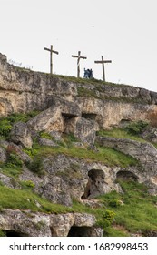 Overview of the ravine of Matera (Gravina of Matera), Basilicata, Italy