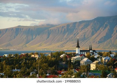Overview of Reykjavik city with the Esja mountain range in the background, Iceland.