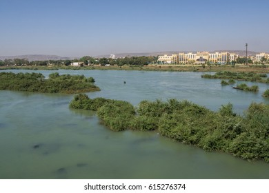 Overview of the River Niger on the background City Administration Building, Bamako, Mali