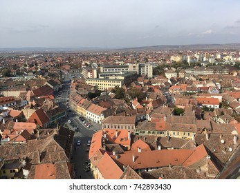 Overview of Sibiu, Transylvania, Romania. View from above.