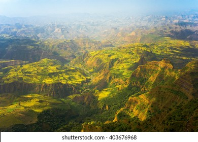 Overview of the Simien Mountains National Park, Debark, Ethiopia.