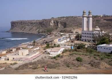 Overview of the small fishing village and its Divinity mosque on the coast of Dakar, Senegal