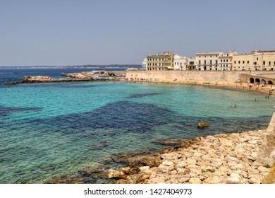 Overview of the Spiaggia delle Puritane (Puritan beach) in Gallipoli, Puglia, Italy