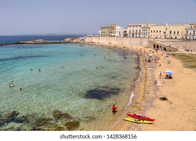 Overview of the Spiaggia delle Puritane (Puritan beach) in Gallipoli, Puglia, Italy - 16/06/2019
