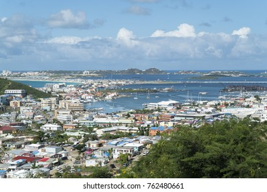 Overview of st.maarten landscape after hurricane Irma, the island is rebuilding and progressing.