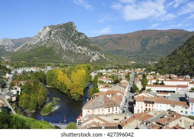 Overview of Tarascon, Ariege, Midi-Pyrenees, France