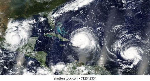 Overview of three hurricanes Irma, Jose and Katia in the Caribbean Sea and the Atlantic Ocean - Elements of this image furnished by NASA