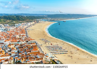 Overview of the town and beach at Nazare. Leiria, Portugal