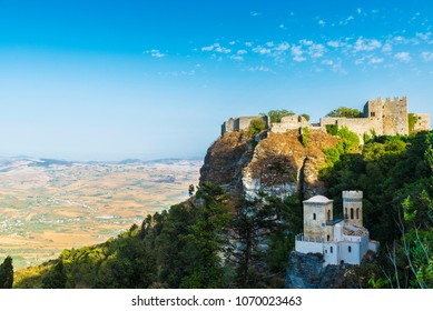 Overview of Trapani with the Torretta Pepoli and Venere castle in the historic village of Erice in Sicily, Italy