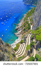 Overview to Via Krupp and distant sea in Capri, Capri island, Italy