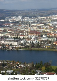 Overview of Vienna with the Donau River in foreground