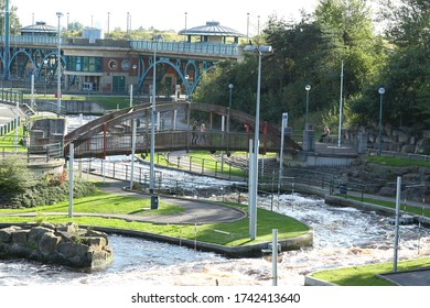 Overview of the whitewater rafting and canoe course incorporating central bridge structure at tees barrage on the river tees in middlesbrough