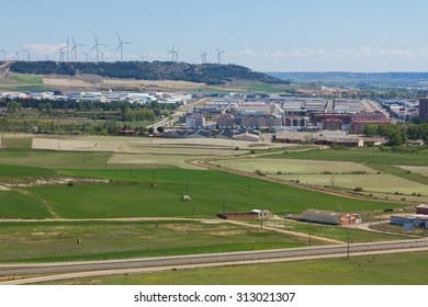 overview wind power mills in the town of Palencia, Spain