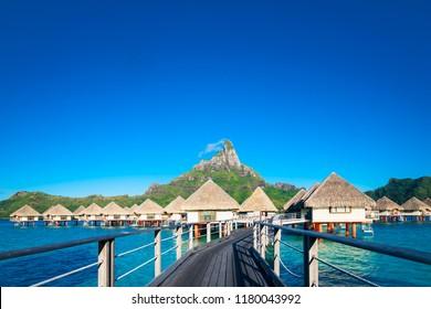 Overwater bungalows in Bara Bora Bora, French Polynesia