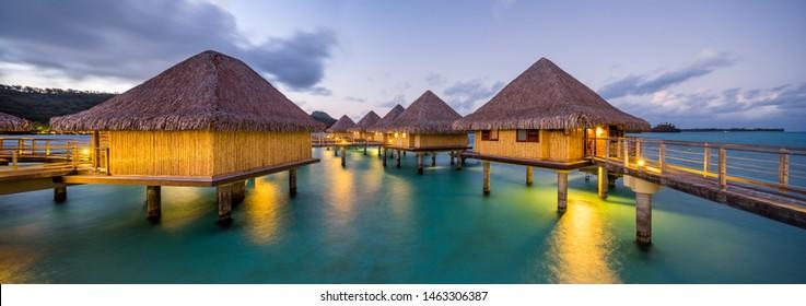 Overwater bungalows, Bora Bora, French Polynesia